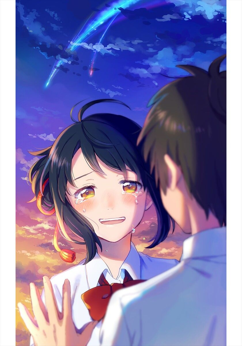 Image result for gambar anime kimi no nawa couple terpisah