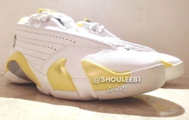 Air Jordan 14 Retro Low  White   Varsity Maize  (First Look Pictures ... 870fd01dbb