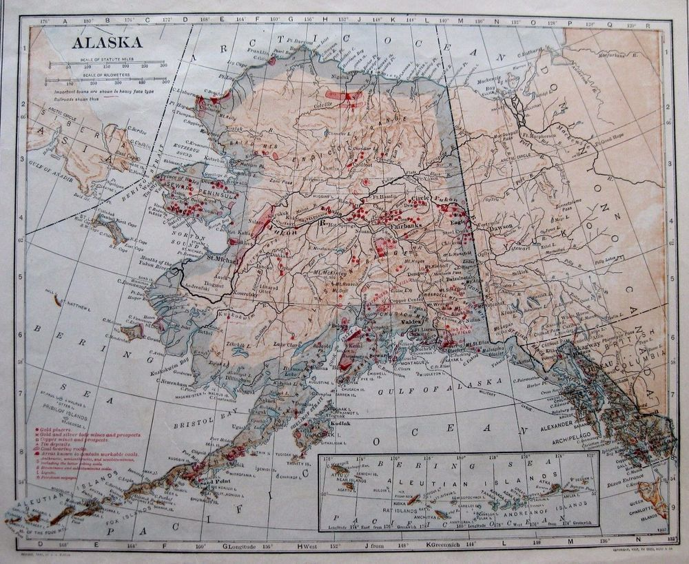 1914 Antique ALASKA Map GOLD and SILVER