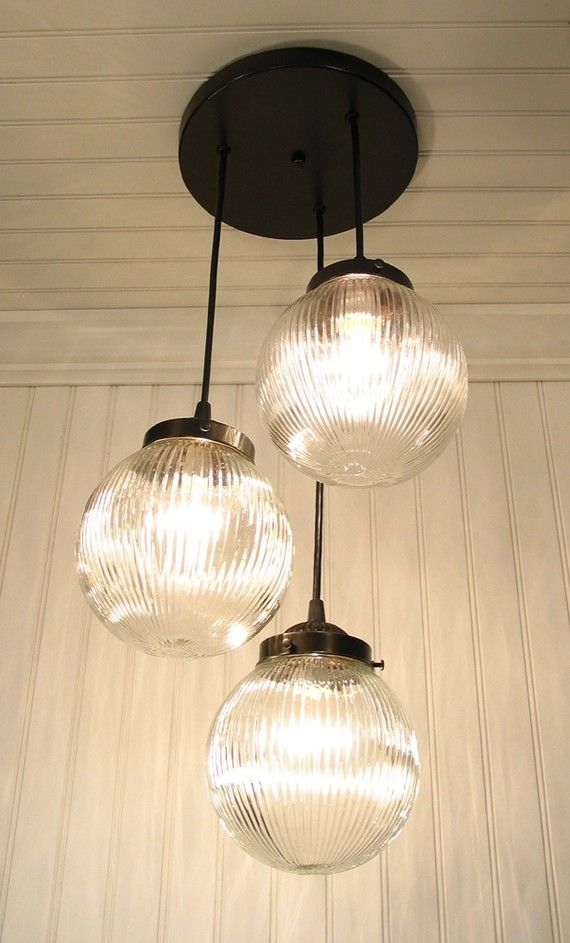 Cary S Mill Iii Clear Holophane Chandelier Trio By Lampgoods 189 00 From
