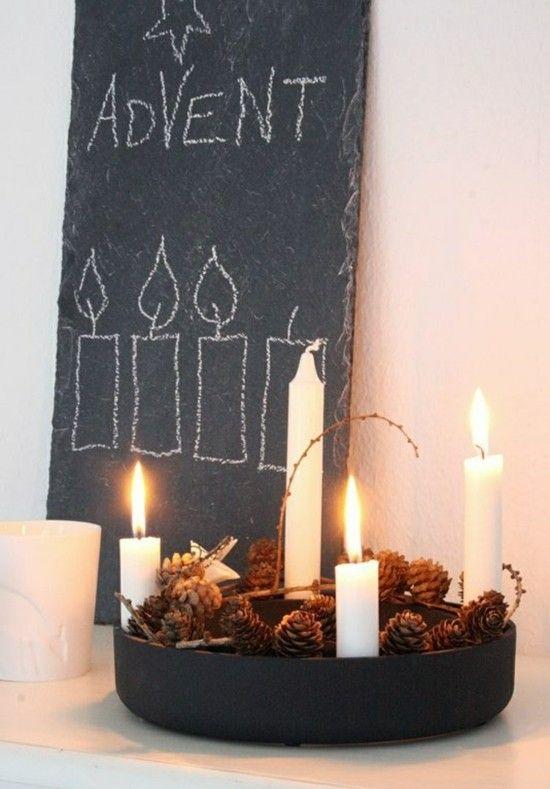 Adventskranz selber basteln - 90 einfache Deko-Ideen, die ganz stilvoll und originell sind #adventskranzskandinavisch