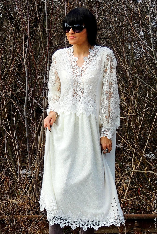 90fc6b8936ae2 Платья ручной работы. Ярмарка Мастеров - ручная работа. Купить БОХО платье  свободного кроя (250). Handmade. Белый