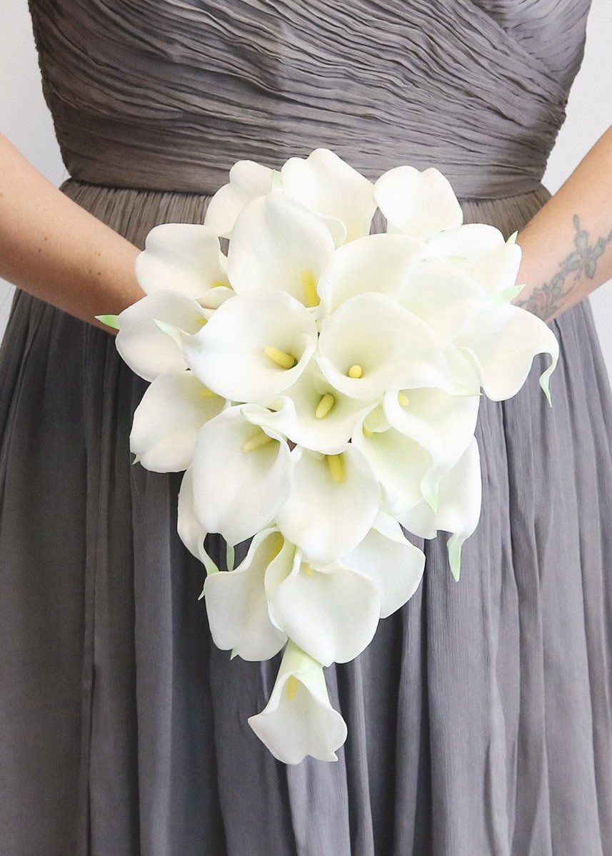 White Real Touch Calla Lily Cascading Bouquet8 Tall X 7 Wide Silk Wedding Bouquets