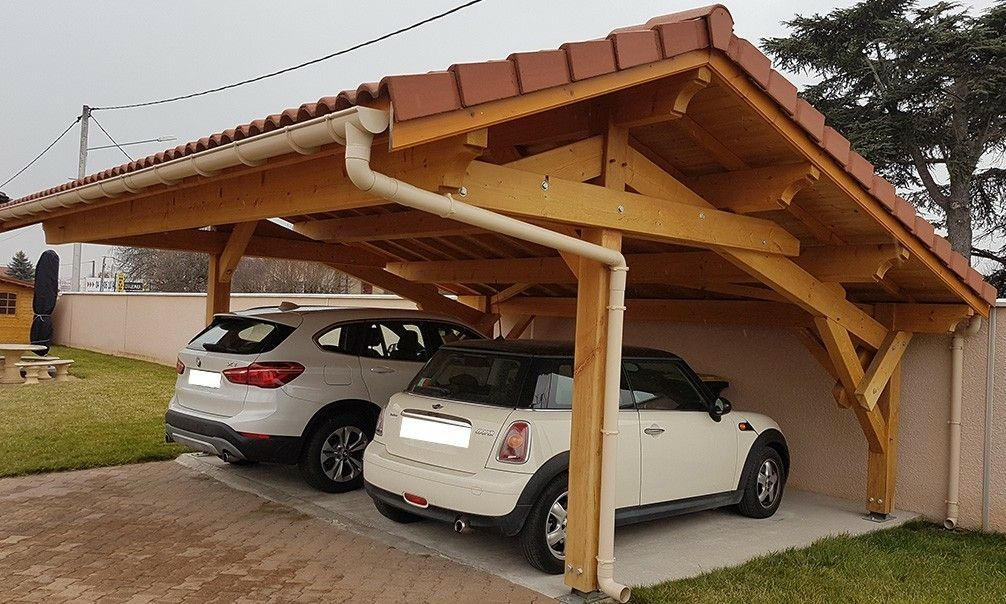 abri-voiture-bois-collonge-650x481 techos madera Pinterest Car - prix d un garage en bois