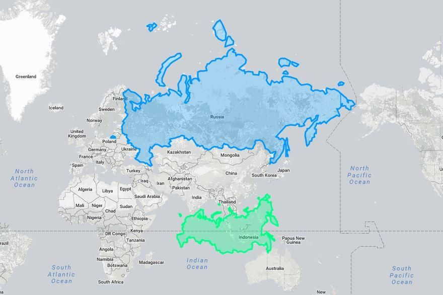 Russia Size On The Map Blue Vs Russia Real Size Green Source - Germany map size