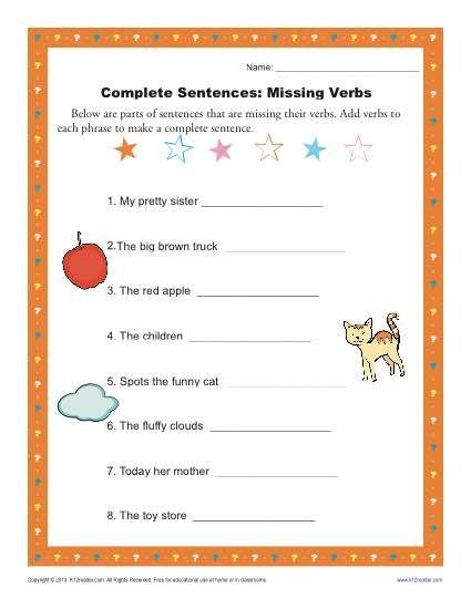 complete sentences missing verbs printables verb worksheets complete sentences sentence. Black Bedroom Furniture Sets. Home Design Ideas