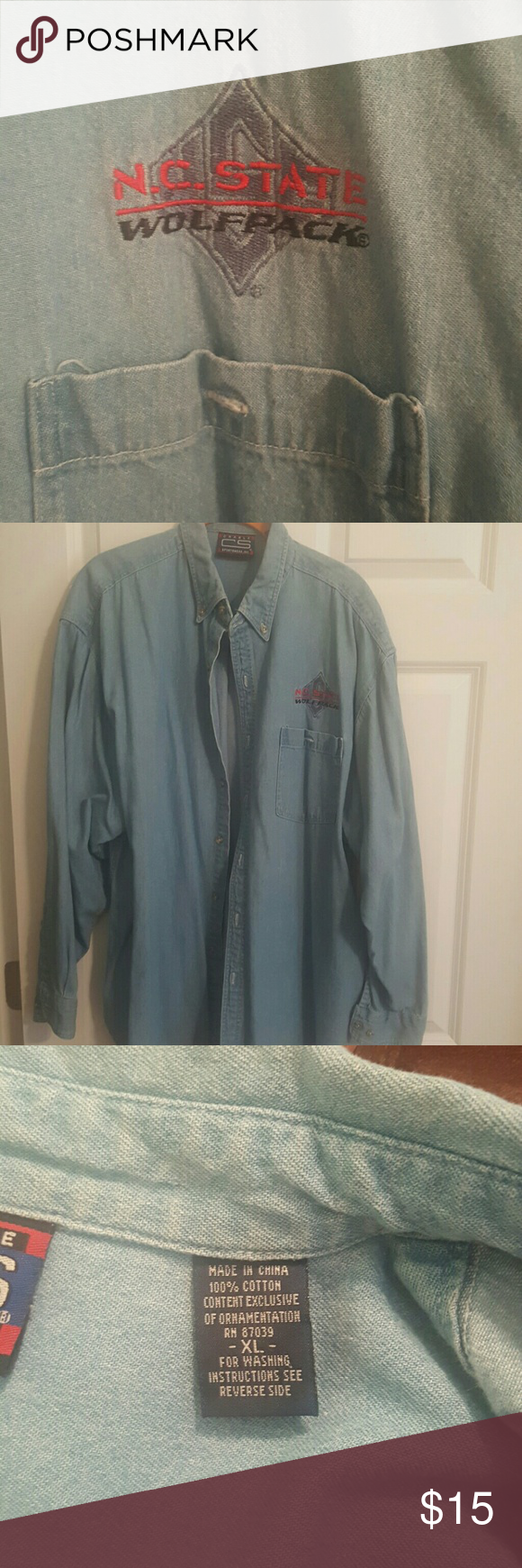 North Carolina State University denim shirt This is a really cute denim shirt with NCSU appliceed above the pocket. Men's style shirt so for either sex. It has one small distressed area beneath the pocket. Purchased this way and has never changed. Tops Button Down Shirts