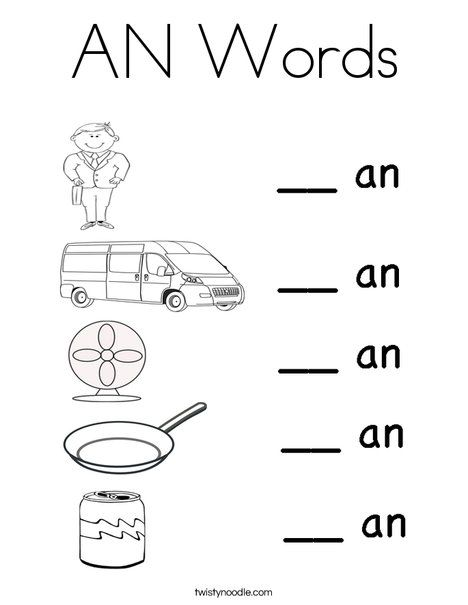 fill in the missing letter an worksheet from an words word families. Black Bedroom Furniture Sets. Home Design Ideas