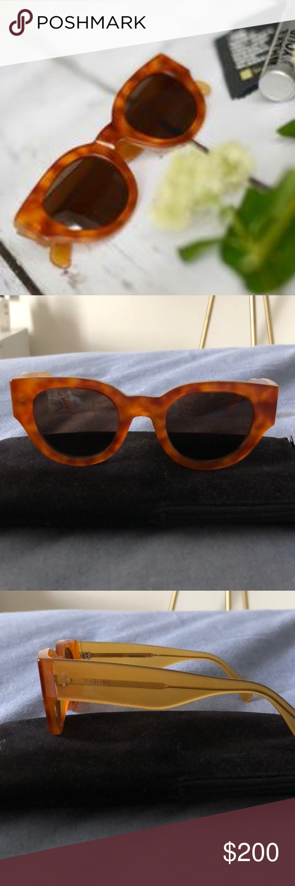 633b9e6f5818 Celine Sunglasses Celine blonde tortoise sunglasses with case. Purchased in  2015-no visible signs of wear except slightly stretched but could easily be  ...