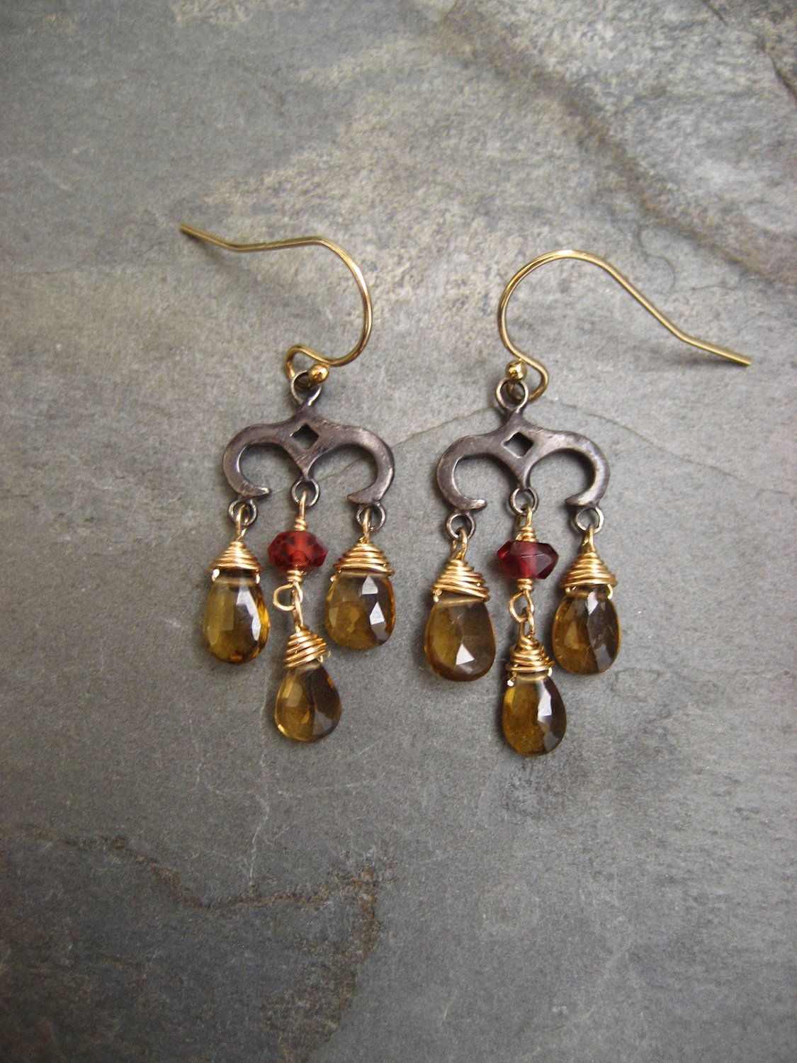 Whiskey quartz and rhodolite small chandelier earrings gunmetal whiskey quartz and rhodolite small chandelier earrings gunmetal sterling silver and goldfilled by elfiroose on aloadofball Gallery