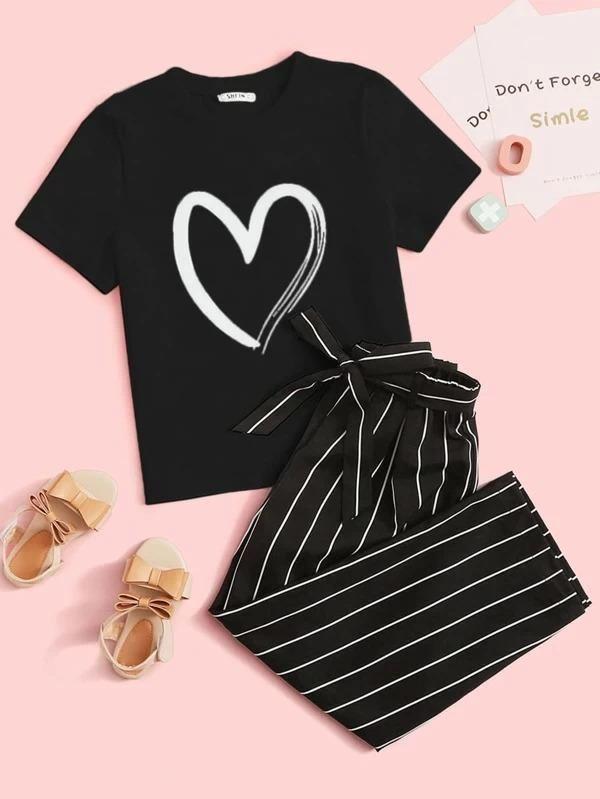 24 Girls Heart Print Tee & Belted Striped Pants Set   7Y / Black