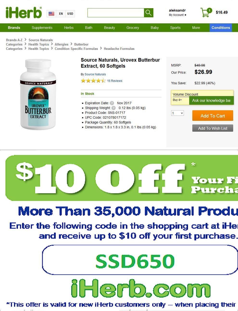 Source Naturals, Urovex Butterbur Extract, 60 Softgels   http://iherb.com/Source-Naturals-Urovex-Butterbur-Extract-60-Softgels/964