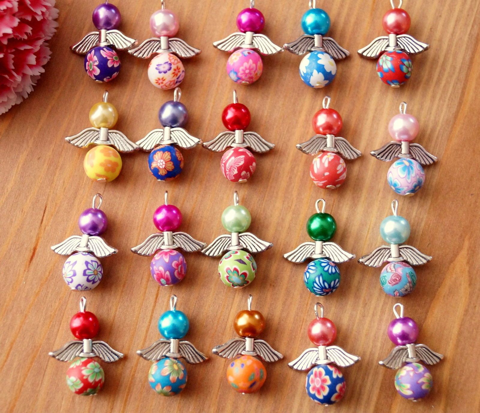 20x Angel Charms Pendants Clay Flower Bead COLOURS MAY VARY Xmas Tree Decoration