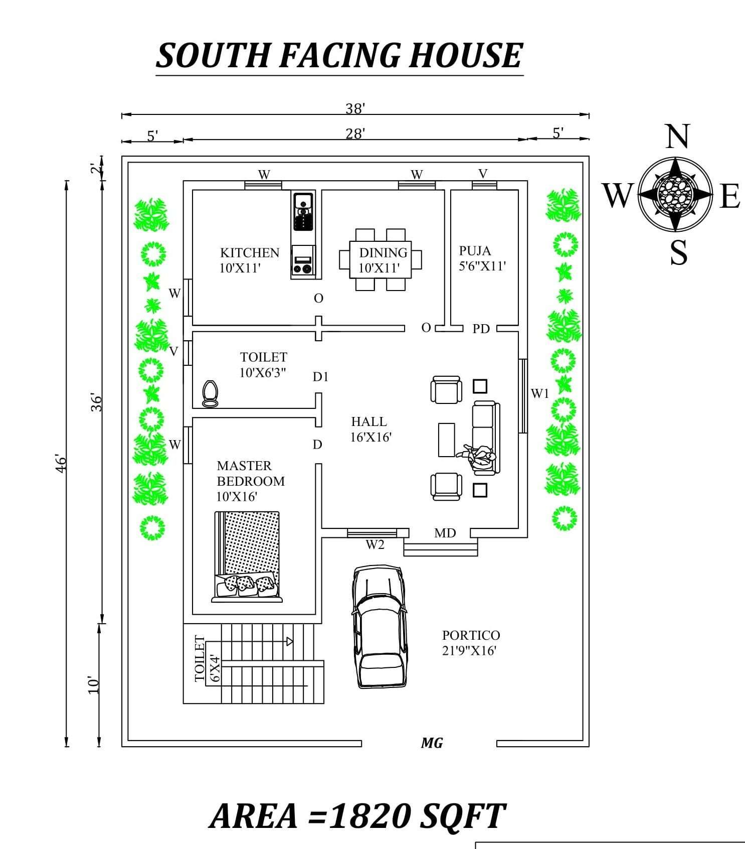 28 X36 Single bhk south facing House Plan Layout As Per Vastu Shastra Autocad DWG and Pdf file details