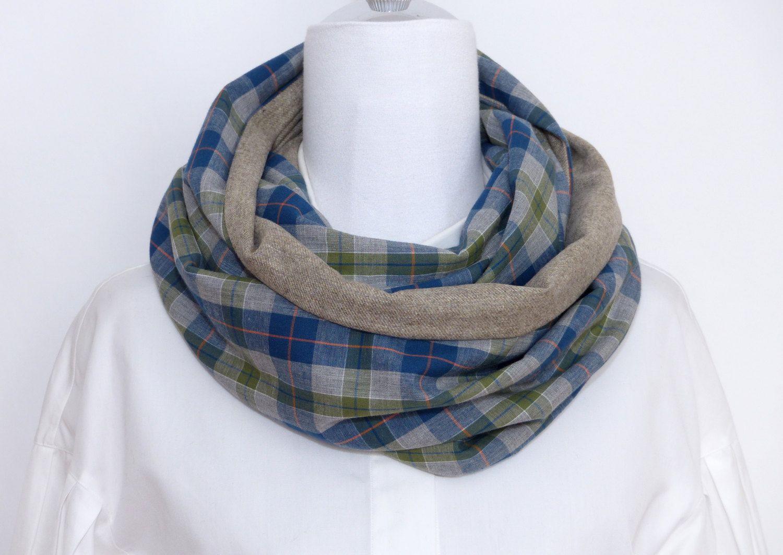 Snood tartan, écharpe, Homme, Femme, laine, réversible, carreaux, coton,  gris, vert, bleu, orange de la boutique Polinacouture sur Etsy 2cee5f1b273