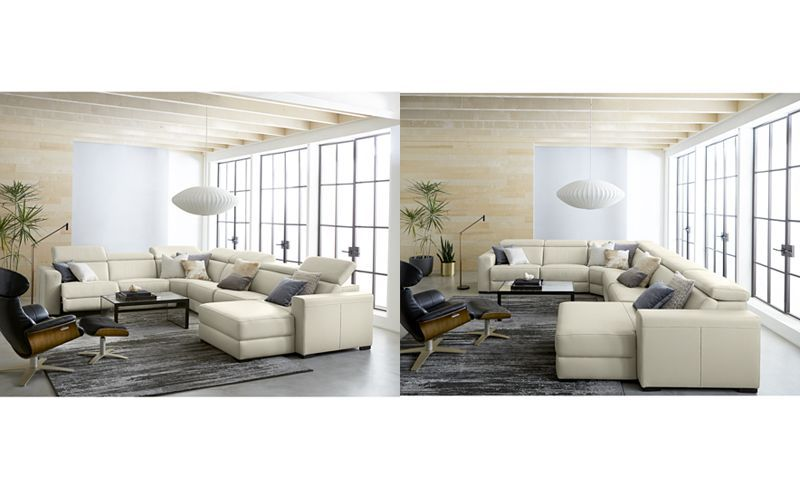 Nevio 5-pc Leather Sectional Sofa with Chaise, 1 Power ...