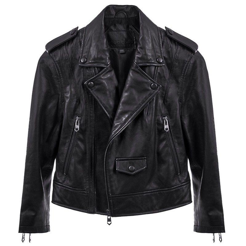 Linea pelle Moto Crop Jacket in Black