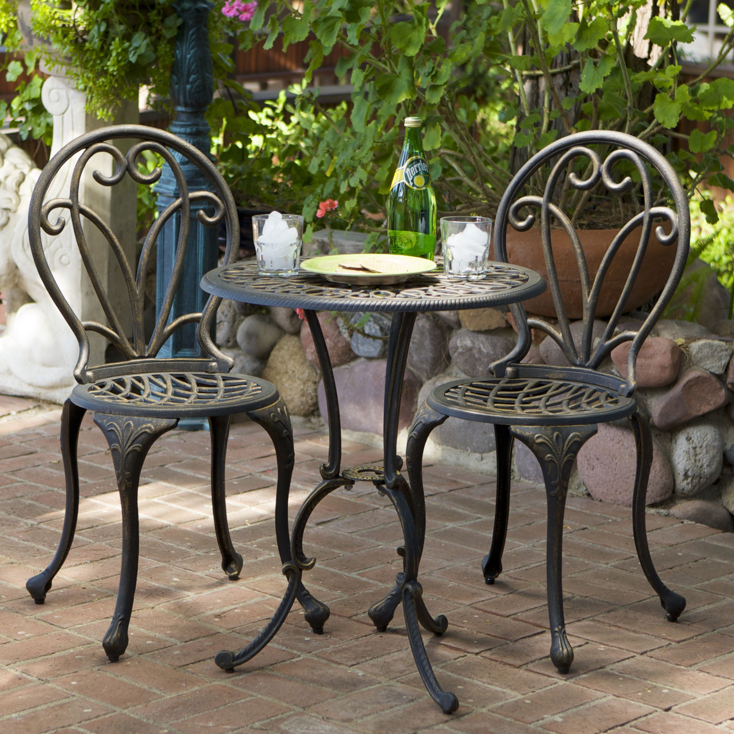 outdoor bistro table and chairs set office chair with armrest this french style will lend classy to your patio the is constructed of cast aluminum in dark gold color iron legs