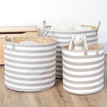 Natural Stripe Basket Set Storage Solutions Nursery 45 Jojo