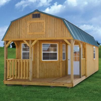 Treated deluxe lofted barn cabin derksen portable for Small portable shed