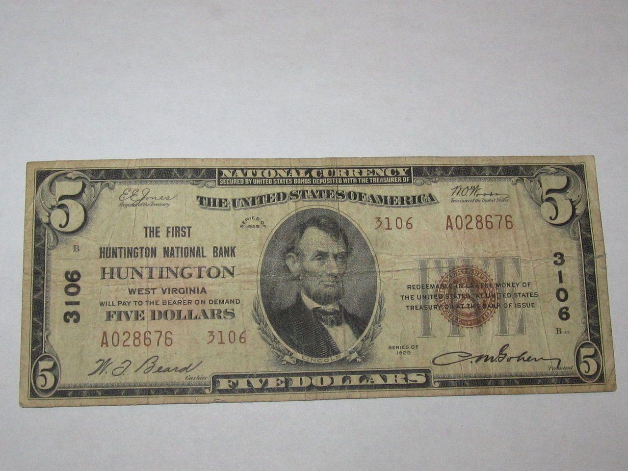 5 1929 Huntington West Virginia WV National Currency Bank