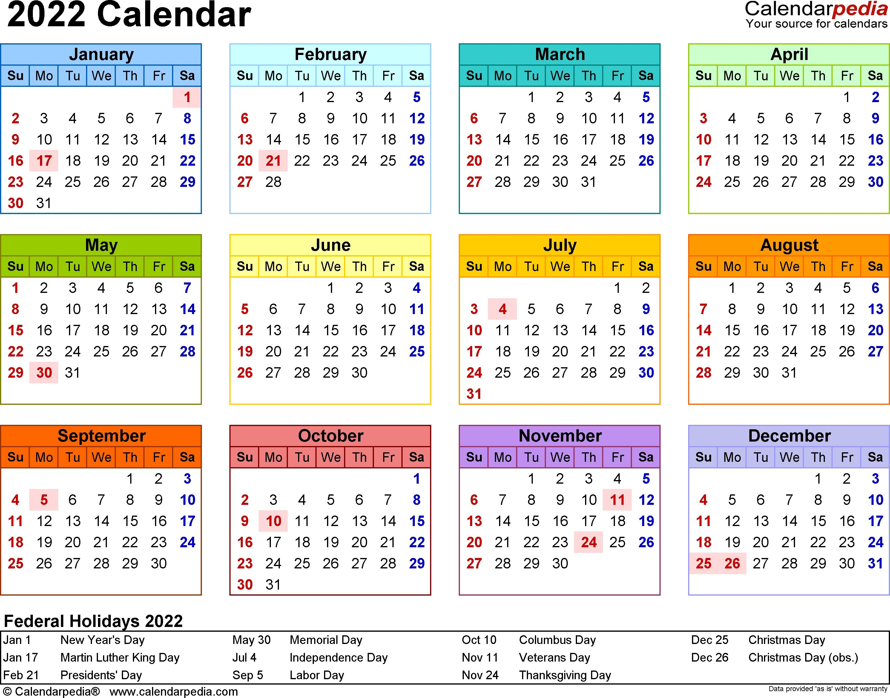 2022 Calendar 17 Free Printable Word Calendar Templates