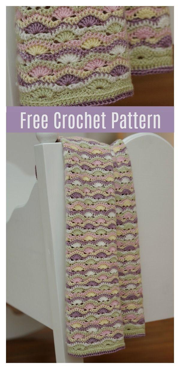 Wavy Shell Stitch Baby Blanket Free Crochet Pattern | Baby shower ...