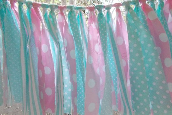 Fabric Garland Mint and Pink baby shower by FabricWorksByLauraL