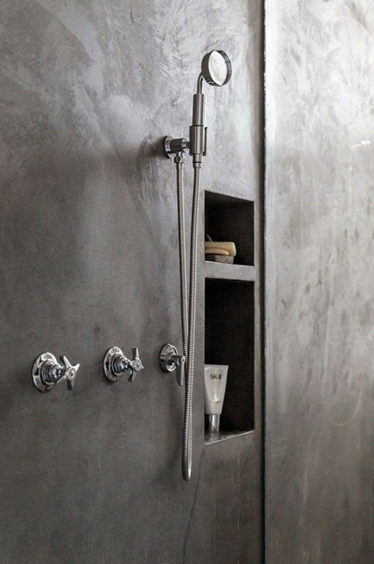 salle de bain en béton ciré pour un aménagement tendance | mur de ... - Enduit Cire Salle De Bain