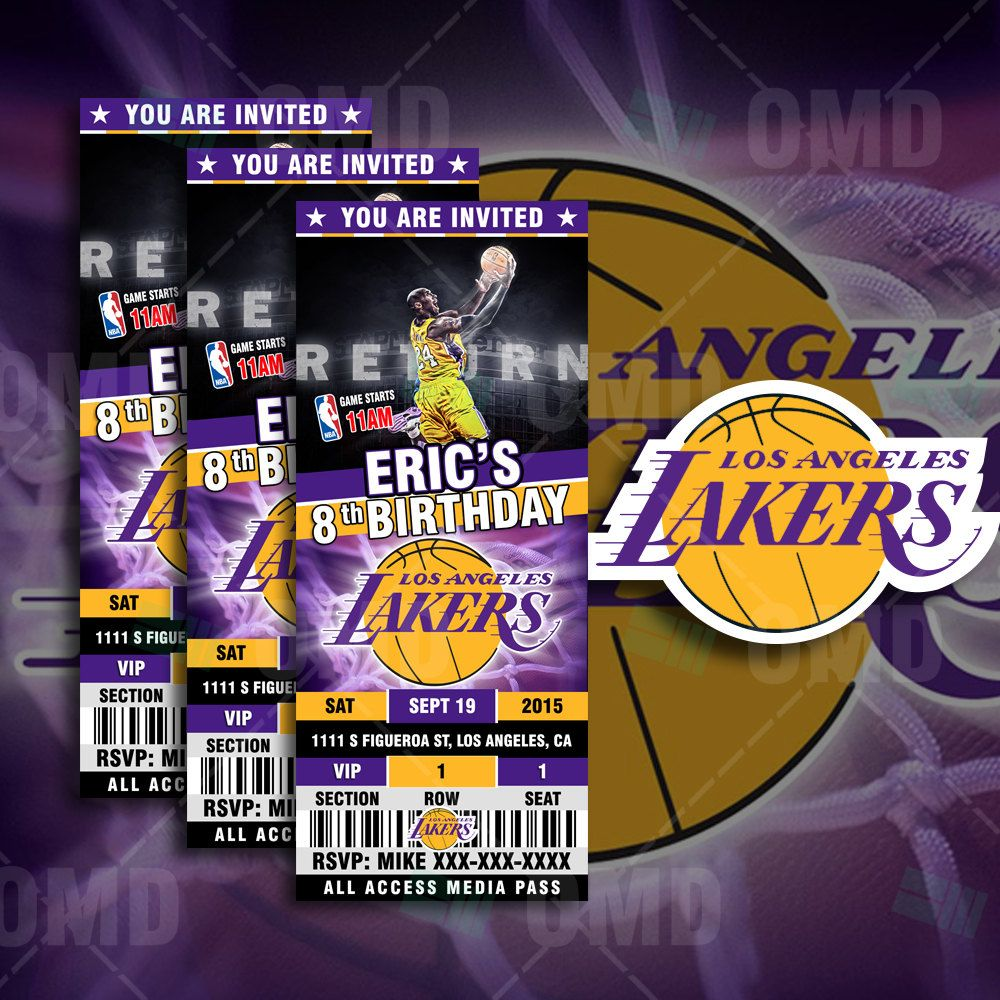2 5x6 Los Angeles Lakers Sports Ticket Style Party Invites In 2020 Basketball Theme Birthday Sports Party Invitations Basketball Themed Birthday Party