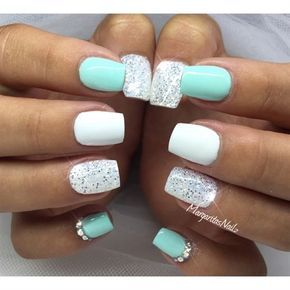 awesome Mint Green And White Glitter by MargaritasNailz from