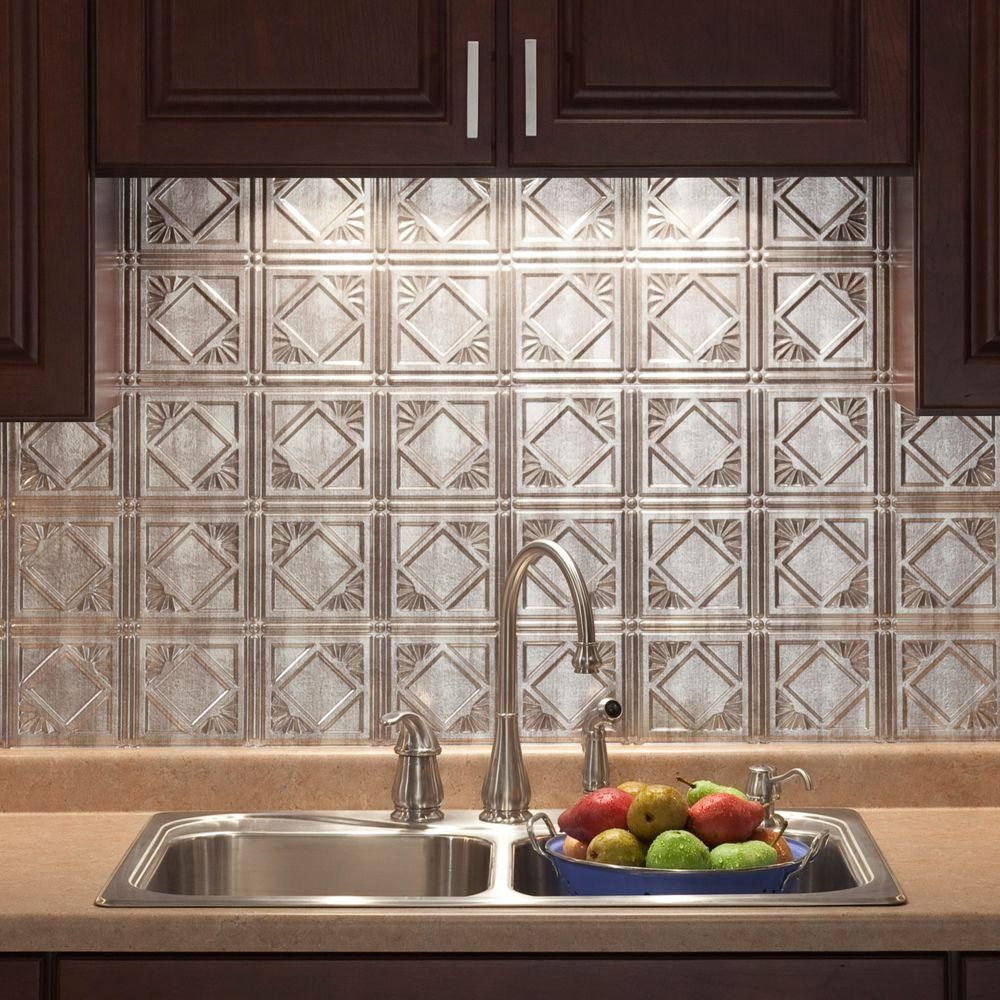 Decorative Tin Backsplash Tiles 18 Inx 24 Intraditional 4 Pvc Decorative Backsplash Panel In