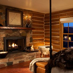 Stone Fireplace Fur Blanket Getaway Cabins Rustic Master