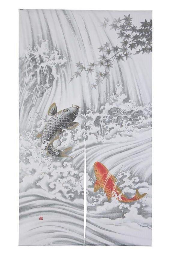 From Japan Noren Tapestry Koi Fish