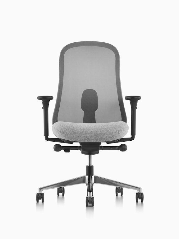 Black and gray Lino Chair with adjustable sacral lumbar