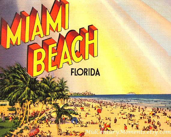 Art Deco Style, Miami Florida in 1930s, Miami Beach Print Retro ...