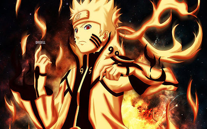 Naruto Uzumaki using the 9 tailed fox power | naruto
