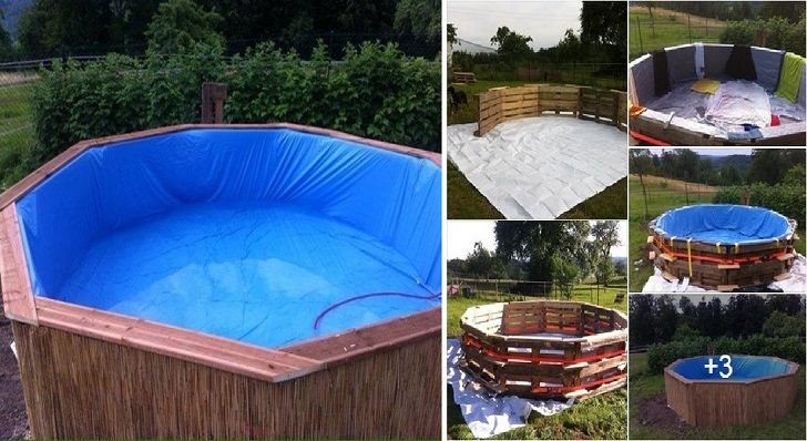 Il a construit une piscine avec 10 palettes et 70 euros Piscine