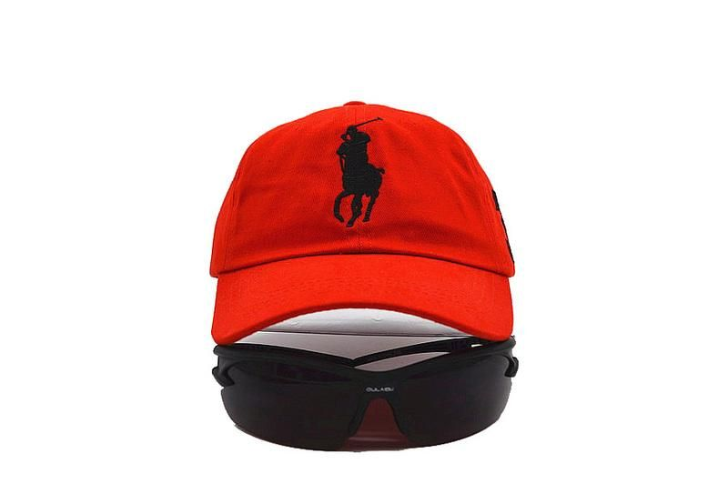 c730f4bb58f Mens Polo Ralph Lauren Big Pony Embroidered No. 3 Left Stitched Strap Back  Adjustable Cap - Red