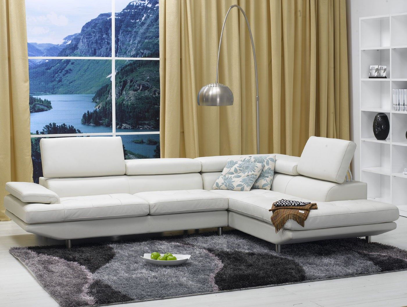 White Ultra Modern Leather Sectional Sofa