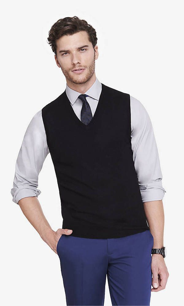 New EXPRESS Men's Merino Wool V-Neck Sweater Vest $60 black size M ...