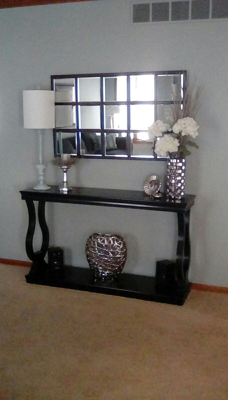 Home goods find on console table husbands knockoff on