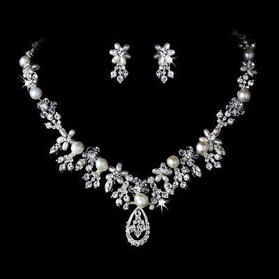 Sparkling Crystal & Freshwater Pearl Silver Bridal or Wedding Jewelry Set