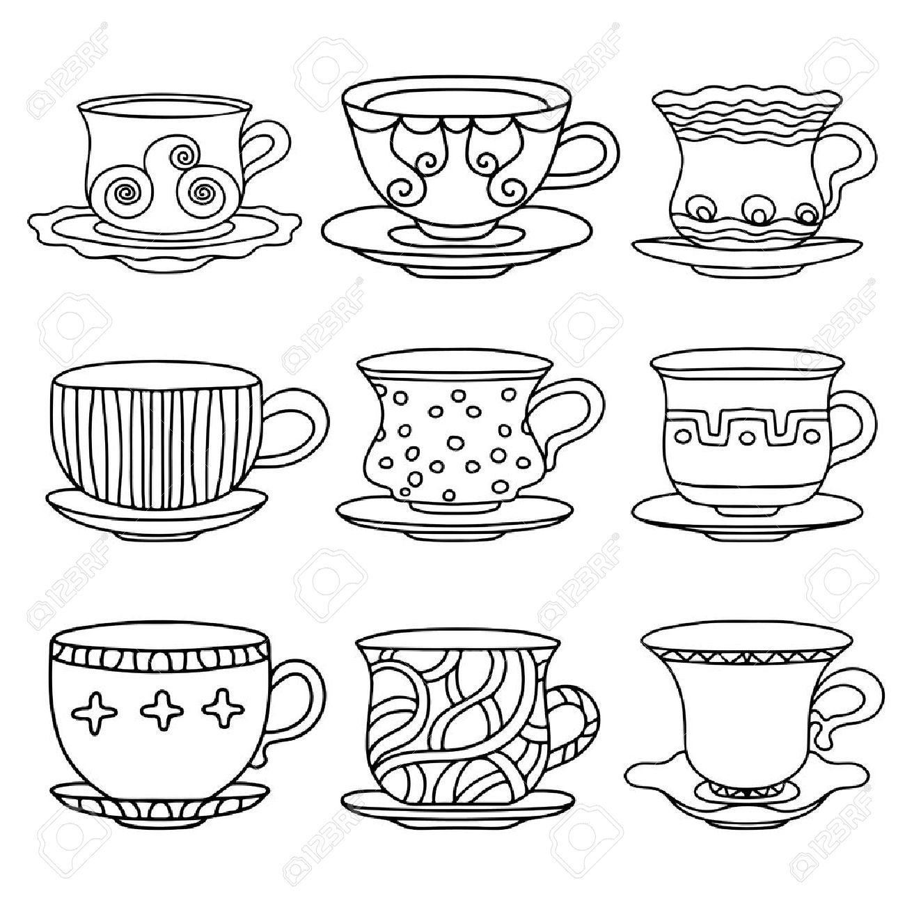simple coloring pages of tea cups | Image result for simple car doodle | Adult coloring pages ...