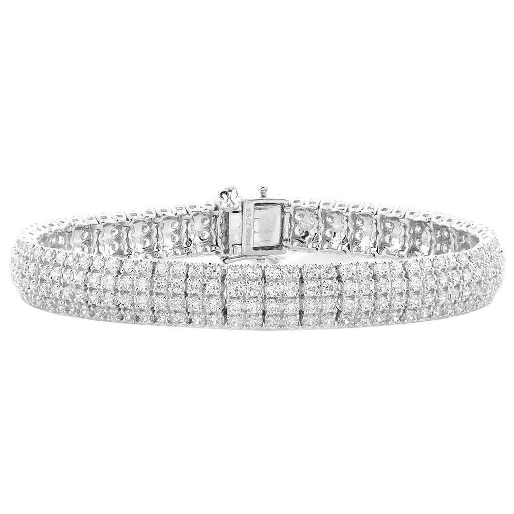 White Diamond Bracelet Womens 4 Row