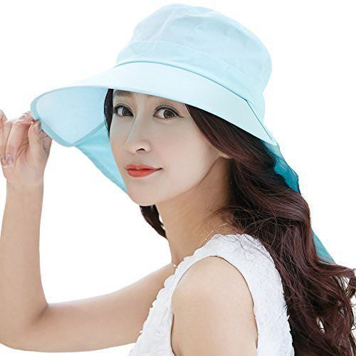 SIGGI Womens Summer Flap Cover Cap Cotton UPF 50+ Sun Shade Hat With Neck  Cord f55a7679b110