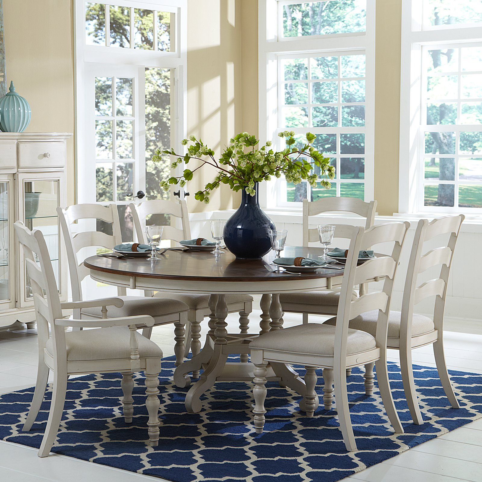 Hilale Pine Island 7 Piece Round Dining Set With Ladder Back Chairs 2193 99 Hayneedle