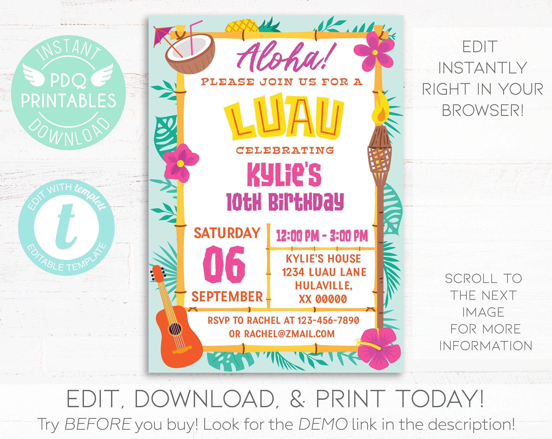 Luau Invitation Luau Birthday Invitation Instant Download