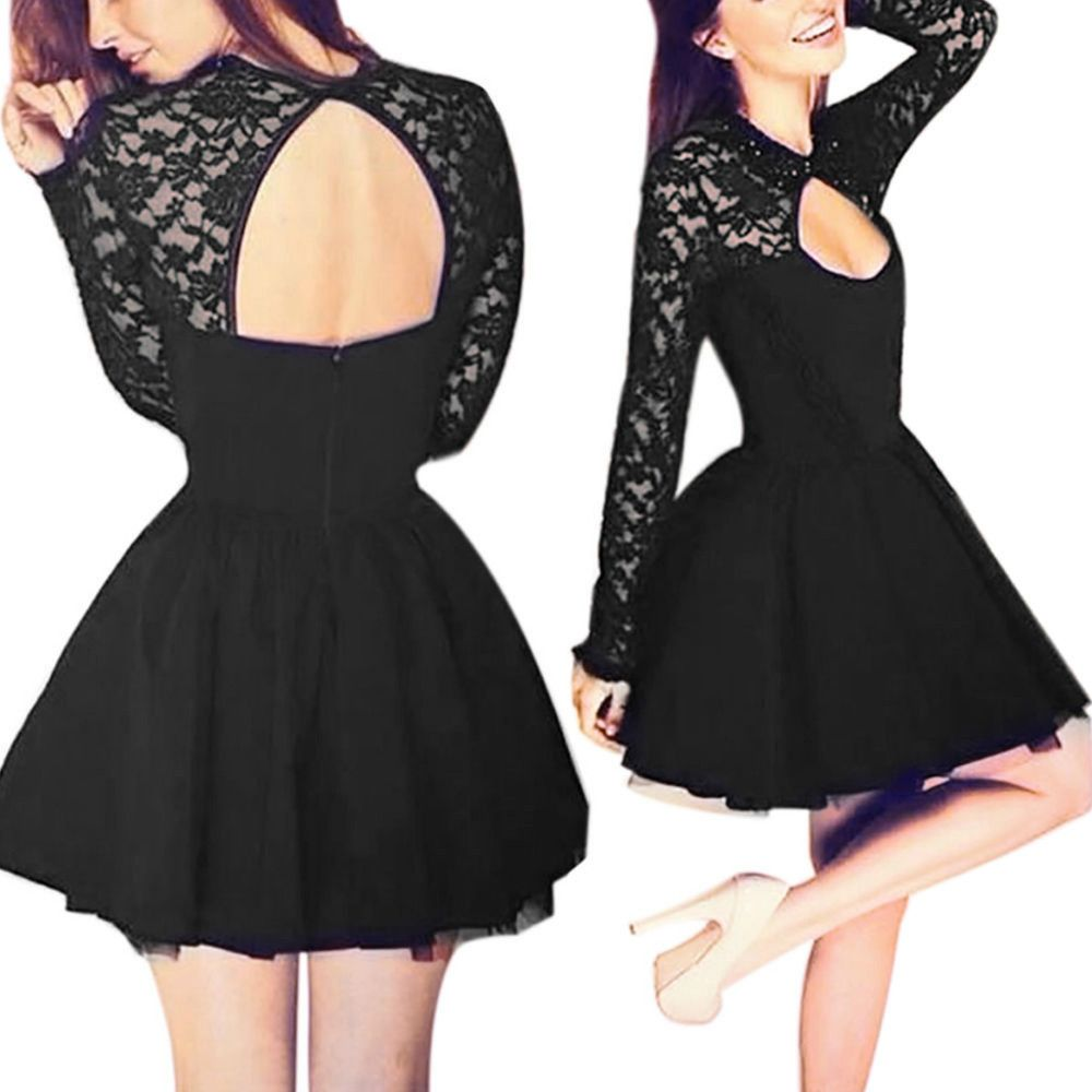 2015 Black Long Sleeves Cocktail Dress With Keyhole Back | Cocktail ...