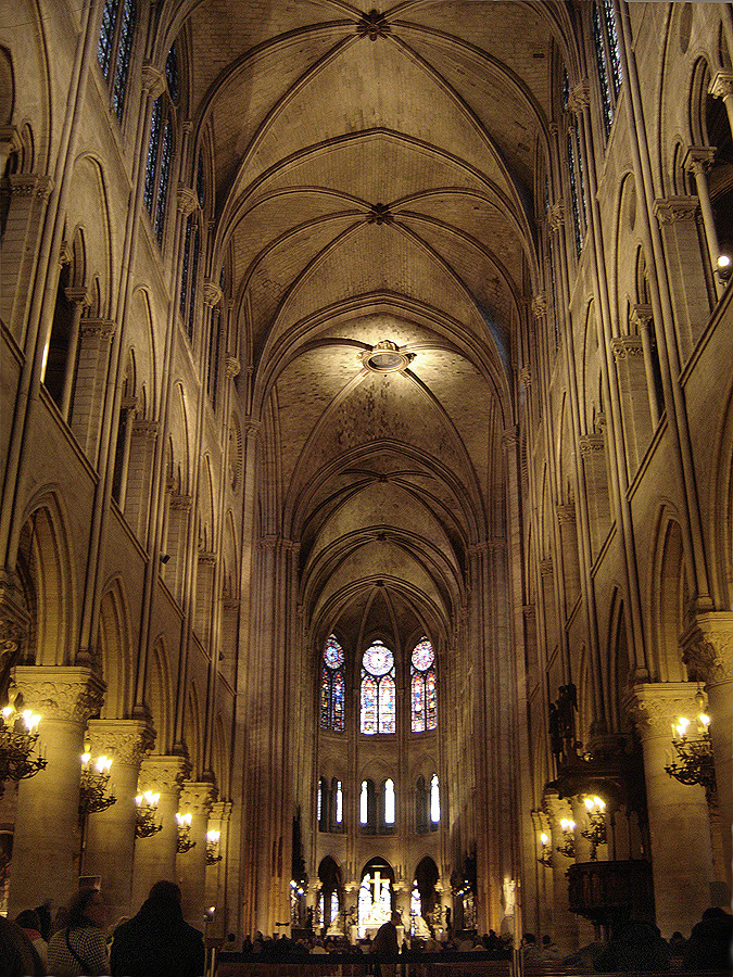 Paris Notre Dame Cathedral Interior Nave East 01a Catedral De Notre Dame París Wikipedia La Enciclope Cathedral Architecture Gothic Cathedrals Cathedral